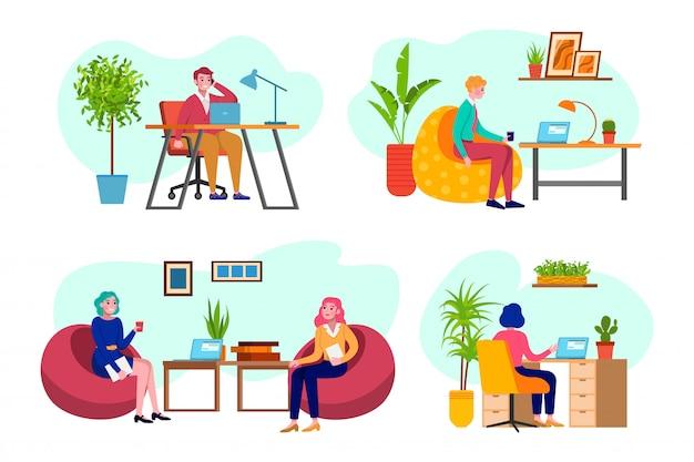 Büroangestellte, geschäft bei der arbeit, mann und frau, die am computerprogrammierer arbeiten, geschäftsanalyse, strategiesatz der illustrationen. geschäftstreffen im büro, firma.