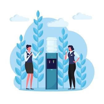 Büroangestellte in der pause stehen am wasserkühler und trinken getränke. kunststoffspender mit großer voller flasche