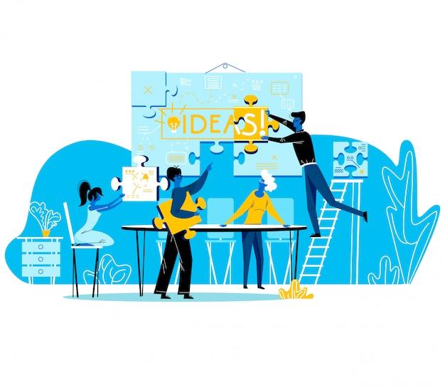 Büroangestellte, kreative gruppen-teamarbeit, brainstorming-prozess