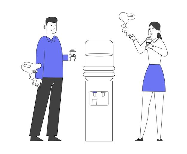 Büroangestellte männliche weibliche charaktere, die kaffeepause haben