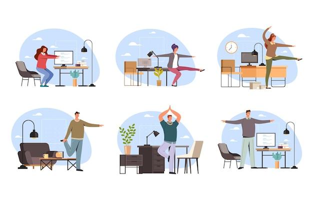 Büroangestellte menschen charakter, der sportübung bei der arbeit macht