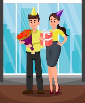 Büroangestellte mit geschenk-vektor-illustration