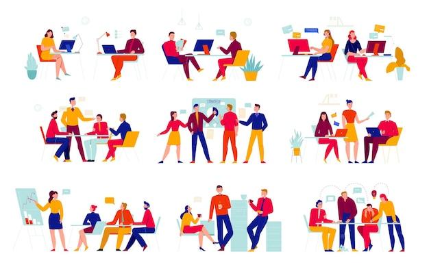 Büroangestellte setzen mit situationen bei der arbeitsillustration ein
