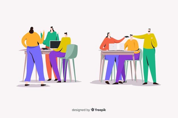Büroangestellte sitzen an schreibtischen dargestellt