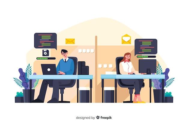 Büroangestellte sitzen an schreibtischen zusammen