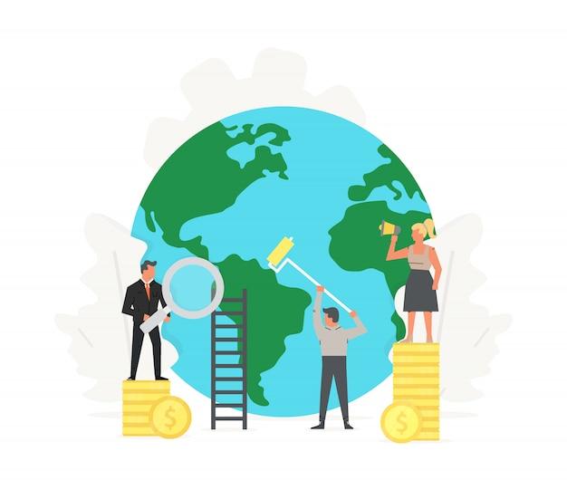 Büroangestellte stehen auf geld, räumen auf und bauen den grünen planeten.