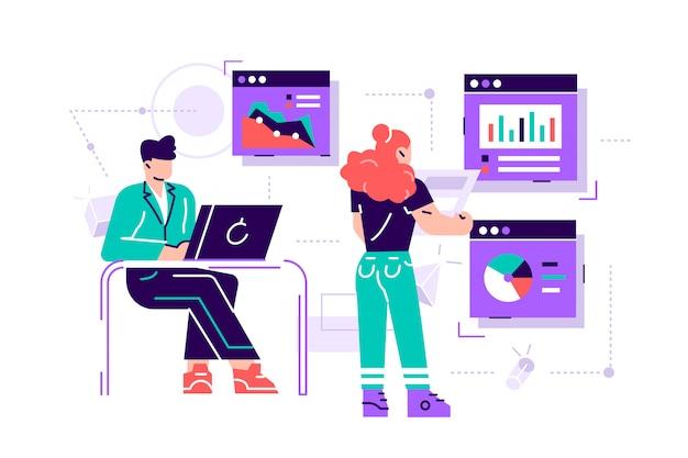 Büroangestellte studieren die infografik, die analyse der evolutionsskala -. flache art moderne designillustration für webseite, karten, plakat,