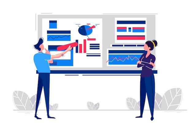 Büroangestellte studieren die infografik