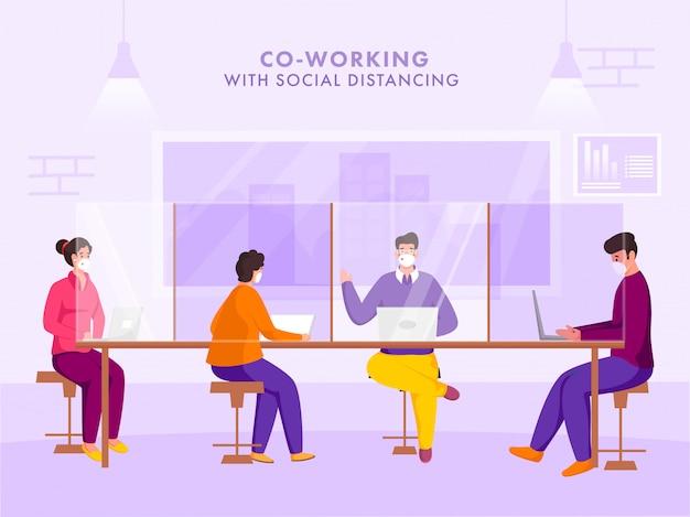 Büroangestellte tragen am arbeitsplatz eine schutzmaske mit sozialer distanz, um die ausbreitung des coronavirus zu verhindern.