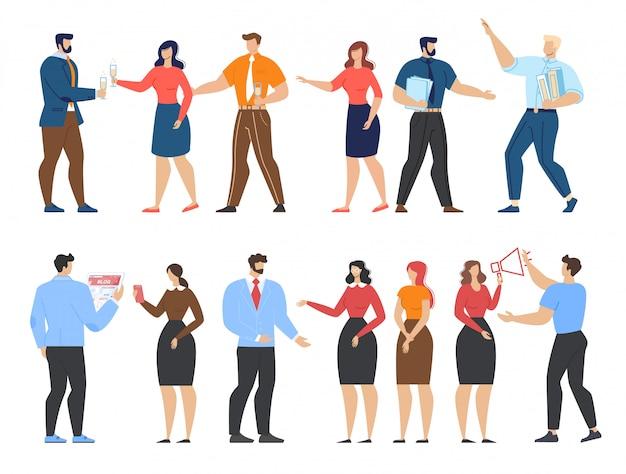 Büroangestellte und geschäfts-karikatur-leute eingestellt