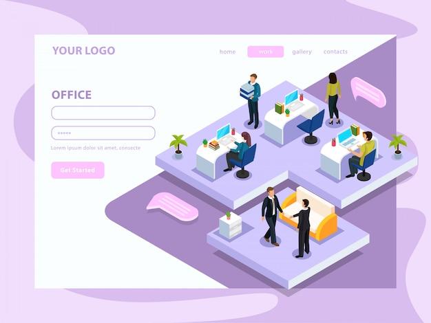 Büroangestellte während der arbeit isometrische webseite mit schnittstellenelementen auf lila weiß