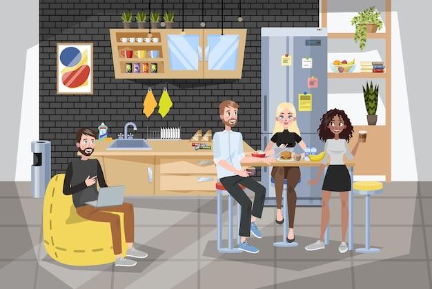 Büroangestellter beim mittagessen in buffetform. kaffeepause