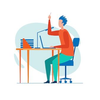Büroangestellter brainstorming intensiv selbst