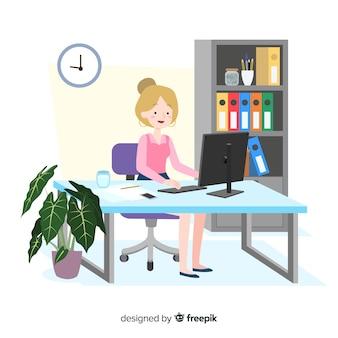Büroangestellter, der am flachen design des schreibtisches sitzt