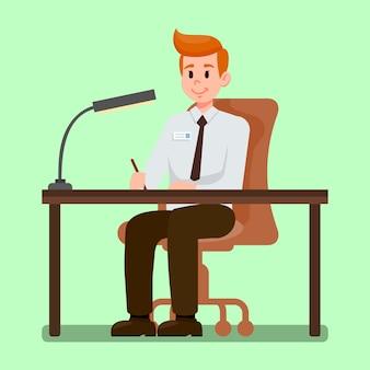 Büroangestellter, der an der schreibtisch-vektor-illustration sitzt
