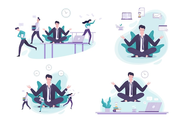 Büroangestellter im yoga-pose-set. meditation über die arbeit