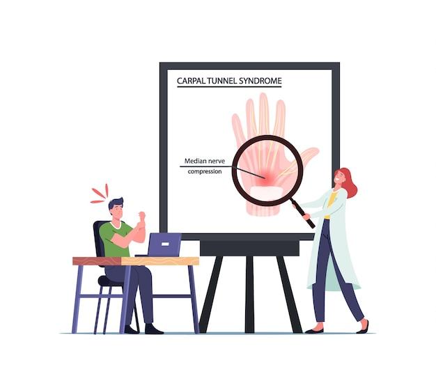 Büroangestellter männlicher charakter leidet an karpaltunnelsyndrom aufgrund einer medianen nervenkompression im handgelenk nach langer arbeit am pc. gesundheitsproblem, arzt infografiken. cartoon-menschen-vektor-illustration