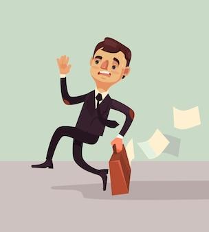 Büroangestellter mann charakter beeilen sich und spät