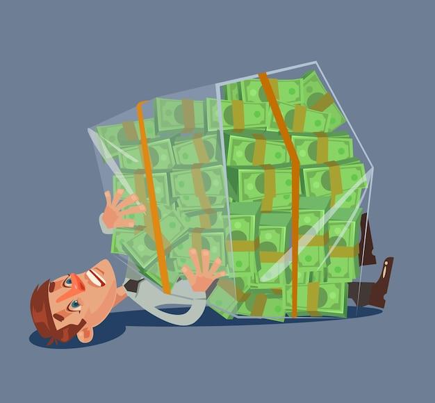 Büroangestellter mann charakter zerquetschte haufen geld