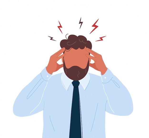 Büroangestellter mit kopfschmerzen, die seinen kopf berühren