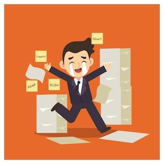 'büroangestellter mit zu viel arbeit zu tun.