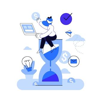 Büroangestellter sitzt auf einer sanduhr und führt mehrere aktionen gleichzeitig aus. multitasking-, produktivitäts- und zeitmanagementkonzept.