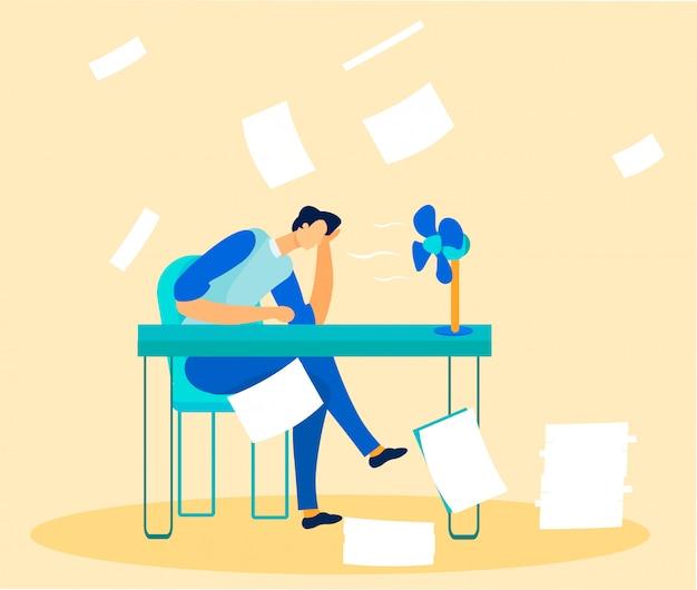 Büroangestellter überwältigt von papierkram und aufgaben
