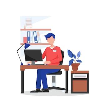 Büroarbeit. der mensch arbeitet in einem komfortablen büro. flache vektorillustration