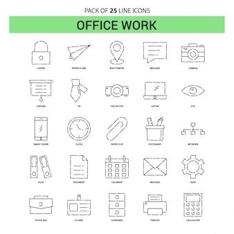 Büroarbeit linie icon set - 25 gestrichelte umriss-stil