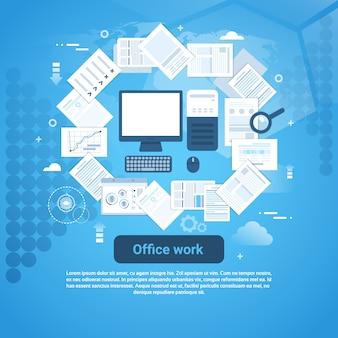 Büroarbeits-schreibarbeits-schablonen-web-fahne mit kopienraum