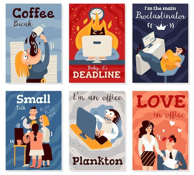 Büroarbeitskarten, die mit flacher isolierter illustration der kaffeepausensymbole gesetzt werden