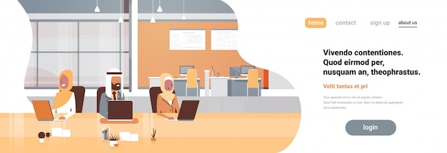 Büroarbeitsplatz arabisches team mit laptop arbeitsprozess banner