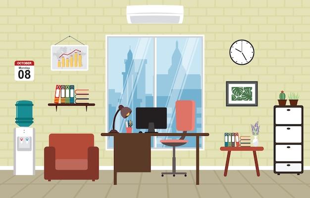 Büroarbeitsplatz arbeitsbereich tisch schreibtisch innenraum