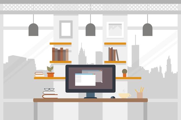 Büroarbeitsplatz. arbeitsillustration im flachen design. arbeitsplatz