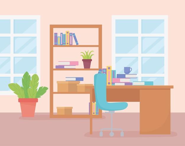 Büroarbeitsplatz bücherregal bücher pflanze schreibtisch stuhl kaffeetasse und fenster.