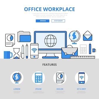 Büroarbeitsplatz computer smartphone gerät bildung schule college konzept flache linie stil.