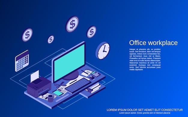 Büroarbeitsplatz flach isometrische 3d-vektor-konzept-illustration