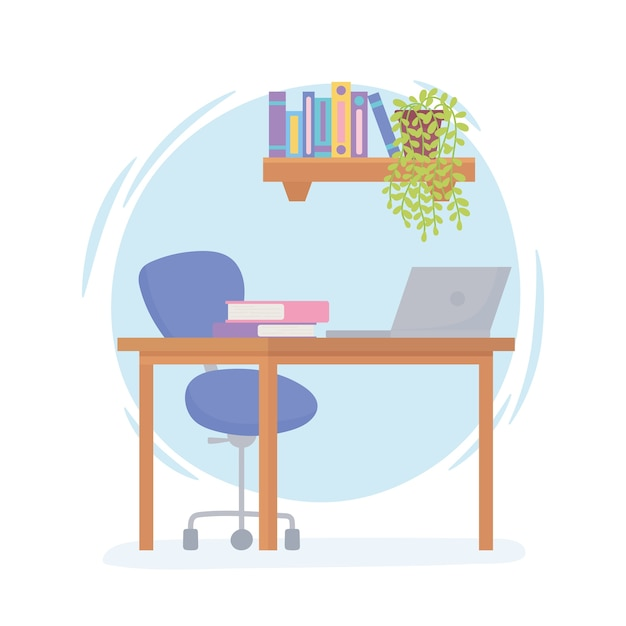 Büroarbeitsplatz schreibtischstuhl laptop regal mit büchern und pflanze.