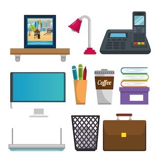 Büroarbeitsplatz stellen ikonen ein