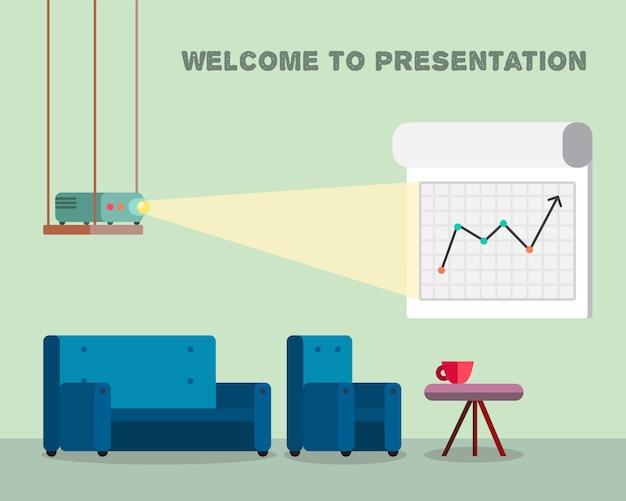Büroarbeitsraum mit projektor