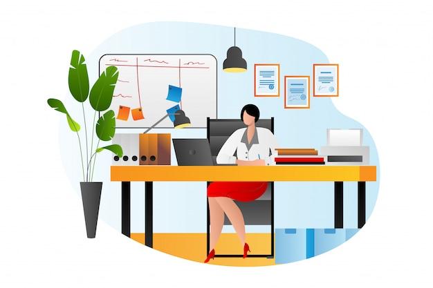 Büroarbeitstisch der geschäftsperson mit computer, schreibtischarbeitsplatz der frau, illustration. professionelle leute job, weiblich mit laptop. junge geschäftsfrau angestellte, arbeiter.