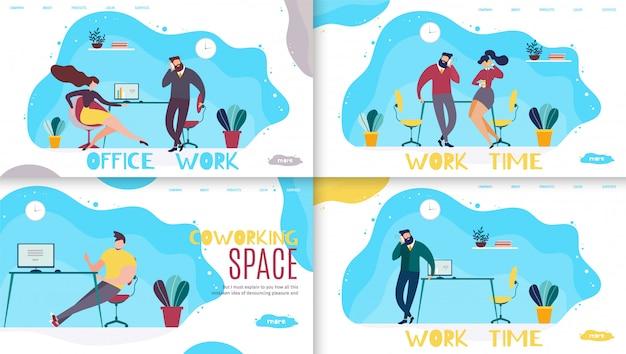 Büroarbeitszeit und coworking space schriftzug landing page set