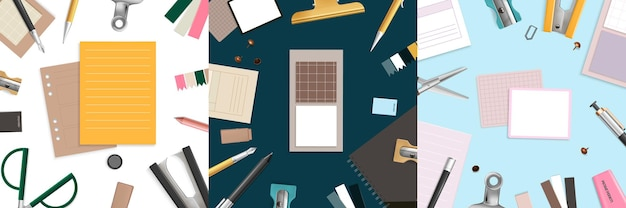 Büroartikel flach gelegt mit schere bleistift und stift realistisch gesetzt