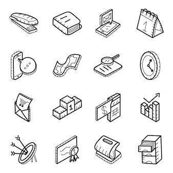 Büroausstattung handgezeichnete icons pack