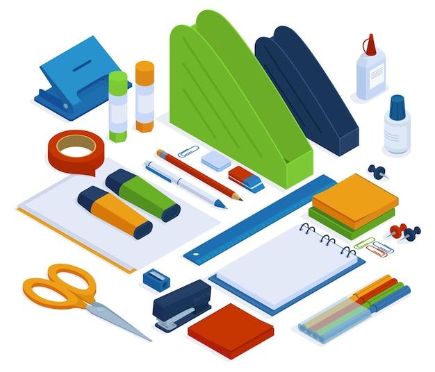 Bürobedarf. isometrische schreibwarenwerkzeuge, hefter, lineal, schere und klebeband, 3d-schul- oder büroschreibwaren-vektorillustrationssatz. isometrische bürowerkzeuge bleistift und zubehör, schule und büro Premium Vektoren