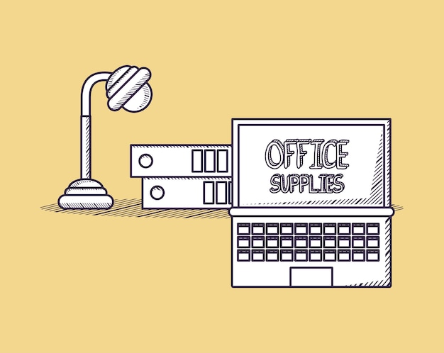 Bürobedarfsdesign mit laptop-computer und schreibtischlampe