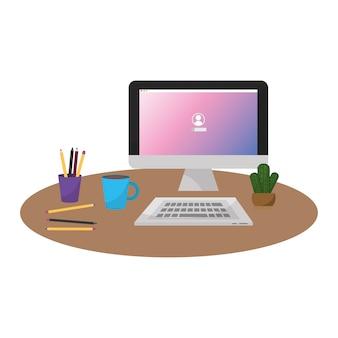 Bürocomputer mit tastatur und kaffeegetränk