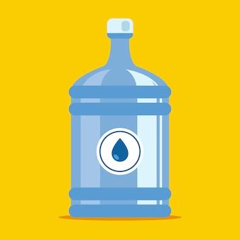 Bürocontainer für wasser. plastikflasche auf gelbem grund.