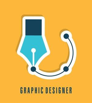 Bürodesign über gelber hintergrundvektorillustration