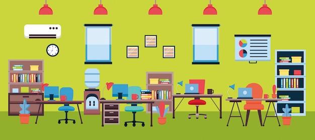 Büroeinrichtung am arbeitsplatz Kostenlosen Vektoren
